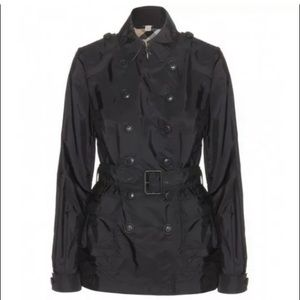Burberry Brit Short Black Trench Coat Sz 6